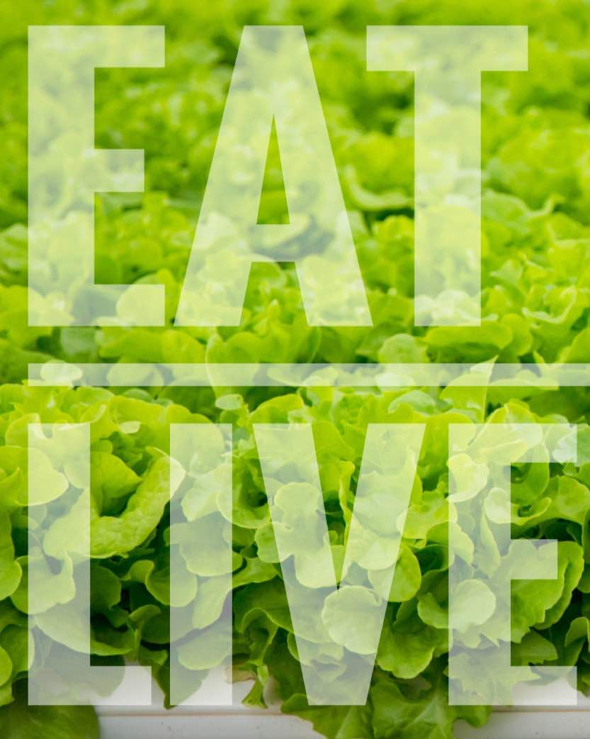 Eat well, live well letters on a green leafy background